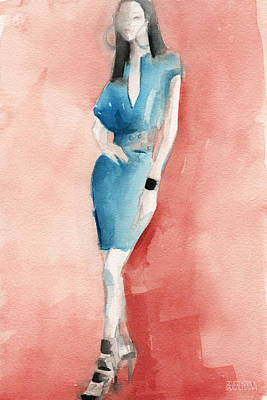 Model Painting - Turquoise Dress Watercolor Fashion Illustration by Beverly Brown Prints