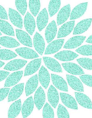 Glitter Painting - Turquoise Flower Glitter by Tamara Robinson