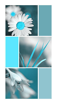 Rollo Digital Art - Turquoise Flowers Collage by Christina Rollo