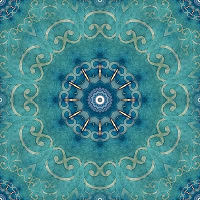 Kaleidoscope Digital Art - Turquoise Kaleidoscope by Flo Karp