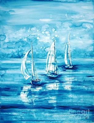 Turquoise Morning Print by Zaira Dzhaubaeva