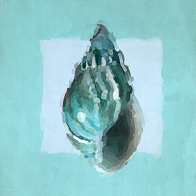 Tropical Fish Painting - Turquoise Seashells V by Lourry Legarde