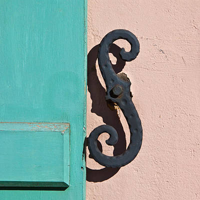 Latch Hook Photograph - Turquoise Shutter by Art Block Collections