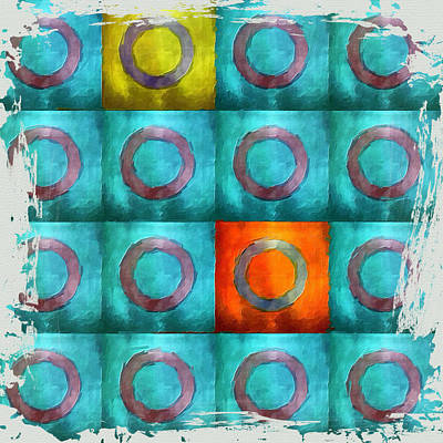 Turquoise Squares Print by Bonnie Bruno
