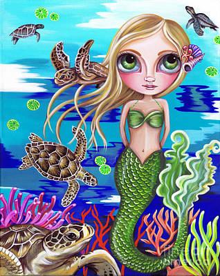 Ocean Turtle Painting - Turtle Cove by Jaz Higgins