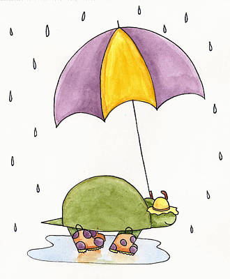 Reptiles Drawing - Turtle In The Rain by Christy Beckwith