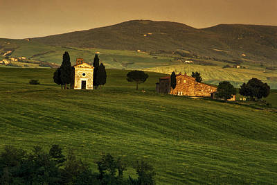 Country Scene Photograph - Tuscan Chapel And Farm by Andrew Soundarajan