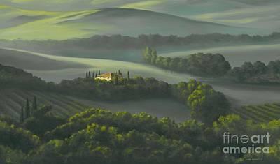 Tuscan Dusk Painting - Tuscan Daybreak by Michael Swanson