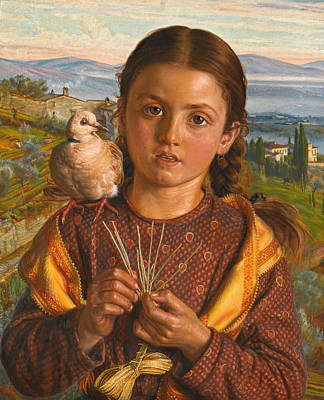 Plaiting Painting - Tuscan Girl Plaiting Straw by William Holman Hunt