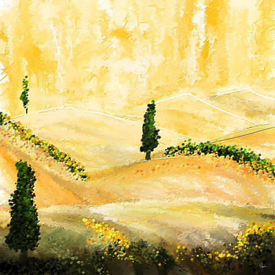 Italian Landscapes Painting - Tuscan Glow- Tuscan Impressionist Paintings by Lourry Legarde