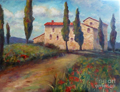 Italy Farmhouse Painting - Tuscan Home by Carolyn Jarvis