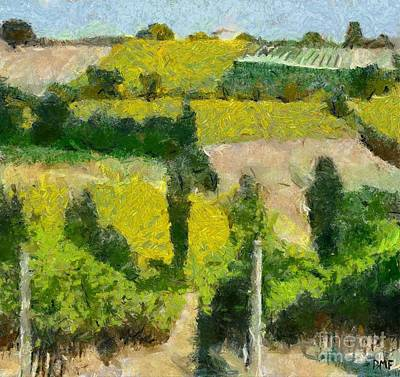 Vineyard Painting - Tuscan Landscape by Dragica  Micki Fortuna