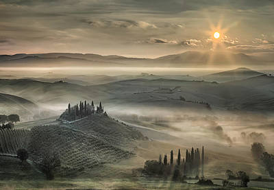 Cypress Trees Photograph - Tuscan Morning by Christian Schweiger