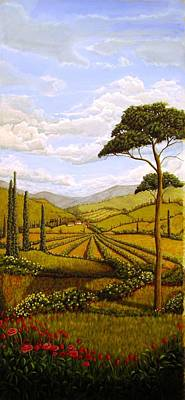 Italian Wine Painting - Tuscan Valley Painting by Arthur Morehead
