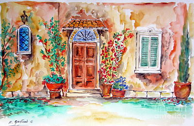 Villa Mixed Media - Tuscan Villa Door Water Color by Roberto Gagliardi