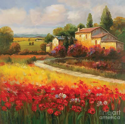 Poppies Field Painting - Tuscan Villa  by Tim Gilliland