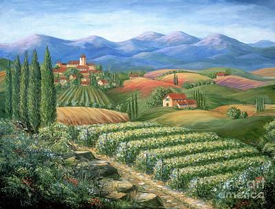 Tuscan Vineyard And Village  Print by Marilyn Dunlap