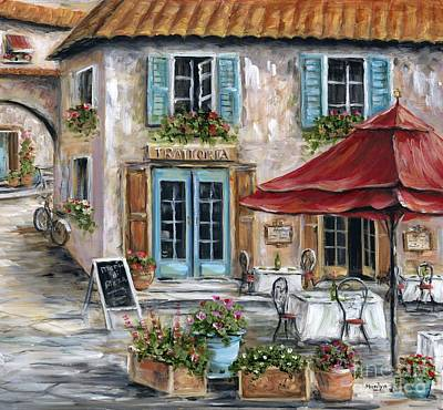 Blue Table Painting - Tuscan Trattoria by Marilyn Dunlap