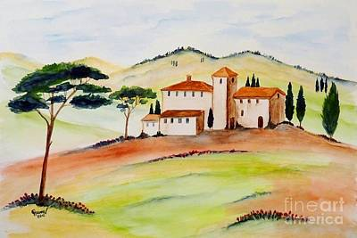 Cypress Painting - Tuscany-again And Again by Christine Huwer