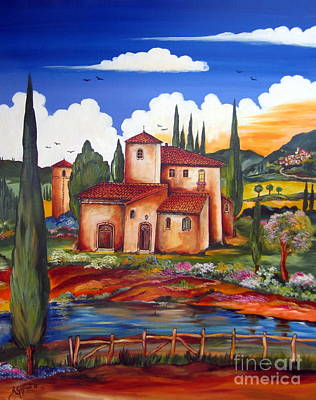 Italy Farmhouse Painting - Tuscany Farmhouse by Roberto Gagliardi