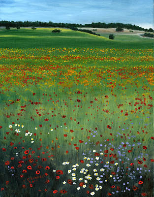 Poppies Field Painting - Tuscany Flower Field by Cecilia Brendel