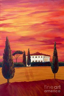 Tuscany In Red Original by Christine Huwer