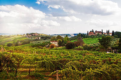 Tuscany Italy Vineyard And Countryside Print by Susan Schmitz