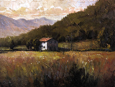 Tuscan Sunset Painting - Tuscany Italy Walking To The Rose Field by Christopher Clark