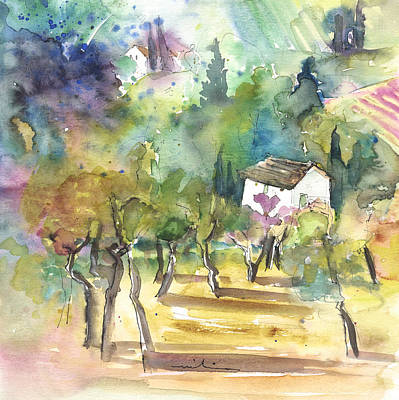Travel Sketch Drawing - Tuscany Landscape 05 by Miki De Goodaboom