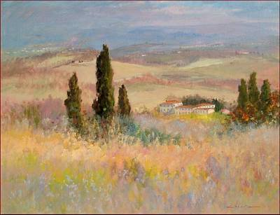 Tuscan Sunset Painting - Tuscany Landscape 70x90 by Biagio Chiesi