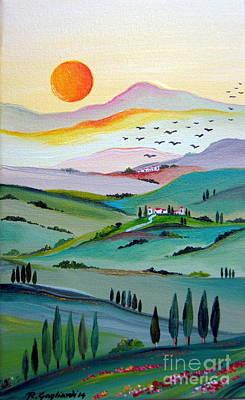 Italy Farmhouse Painting - Tuscany Sunset by Roberto Gagliardi
