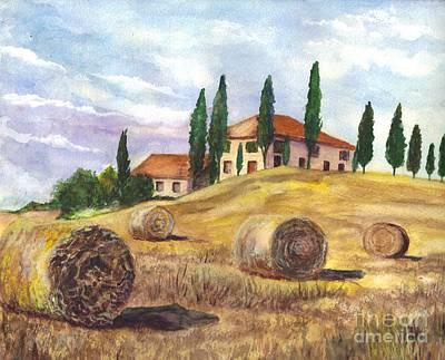 Tuscan Hills Drawing - Tuscany Villa by Carol Wisniewski