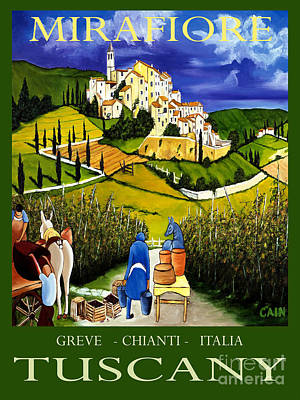 Italy Mediterranean Art Tuscany Painting - Tuscany Wine Poster Art Print by William Cain