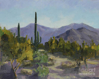 Saguaro Cactus Painting - The Serene Desert by Maria Hunt