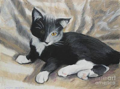 Kitten Painting - Tuxedo Kitten by Jeanne Fischer