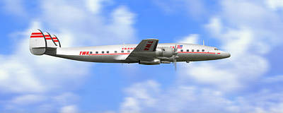 Airliners Digital Art - Twa Constellation Airliner by Mike McGlothlen