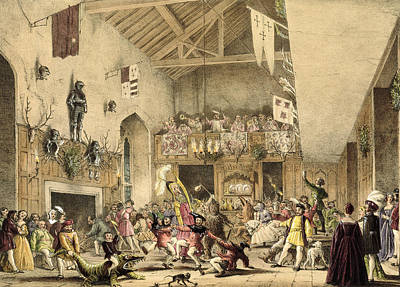 Twelfth Night Revels In The Great Hall Print by Joseph Nash