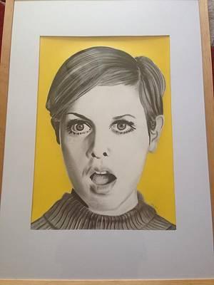 Twiggy Drawing - Twiggy by Martin Burton