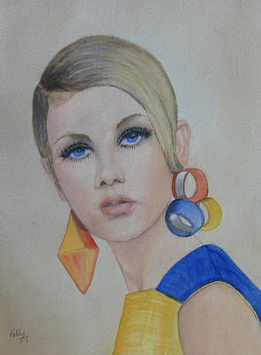 Twiggy The 60's Fashion Icon Print by Kelly Mills