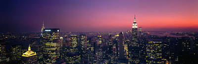 Empire State Photograph - Twilight, Aerial, Nyc, New York City by Panoramic Images
