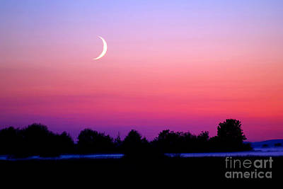Twilight And Crescent Moon - Lummi Bay Print by Douglas Taylor