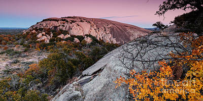 Twilight And Earth Shadow At Enchanted Rock State Natural Area - Fredericksburg Texas Hill Country Print by Silvio Ligutti