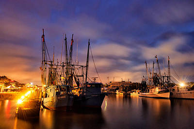 Twilight At Shem Creek Print by Donna Eaton