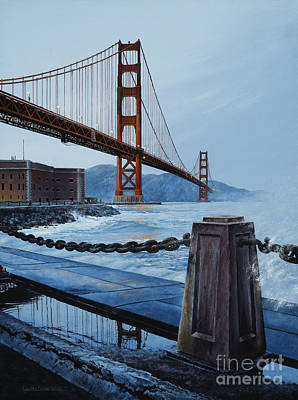 Painting - Twilight At The Golden Gate by Lynette Cook