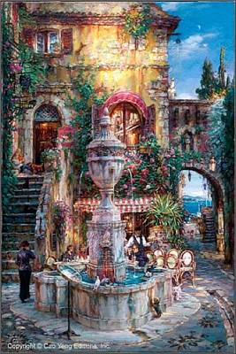 E 20 Painting - Twilight By The Fountain by Cao Yong