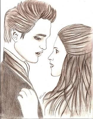 New Moon Drawing - Twilight Edward Bella by AR Annahita