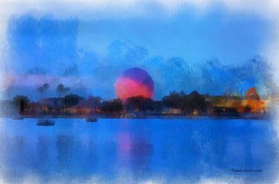 Twilight Epcot World Showcase Lagoon Wdw 01 Photo Art Print by Thomas Woolworth