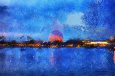 Twilight Epcot World Showcase Lagoon Wdw 02 Photo Art Print by Thomas Woolworth