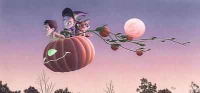 Pumpkin Mixed Media - Twilight Flight by Richard Moore