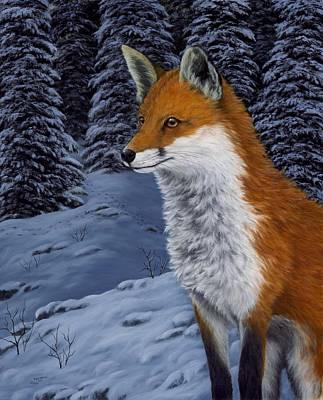 Winter Scene Painting - Twilight Hunter by Rick Bainbridge